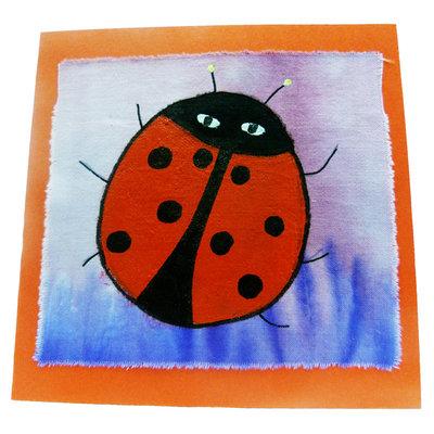 Handbeschilderde kaart ''lieveheersbeestje''