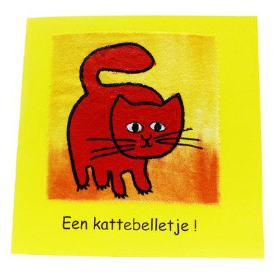 Handbeschilderde kaart ''een kattenbelletje''