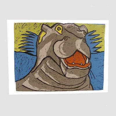 'Nijlpaard' van Bob van Buuren 59x48 cm