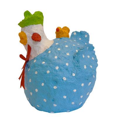 Kipje met blauw bloemmotief