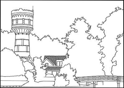 Watertoren van Woerden 70x50 cm