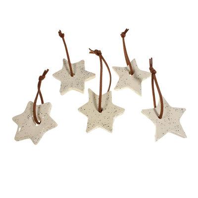 Kersthangers keramiek Ø 6 cm set van 5