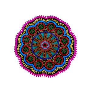 Mandala met roze kartel rand