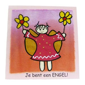Handbeschilderde kaart ''je bent een engel''