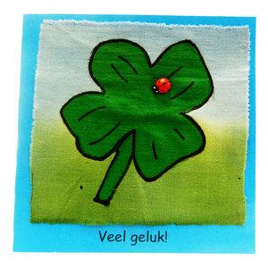 Handbeschilderde kaart ''veel geluk''
