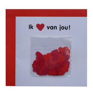 Confettikaart ''ik hou van jou''