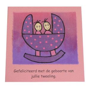 Felicitatiekaart met wiegje ''geboorte tweeling''