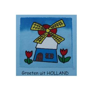 Handbeschilderde kaart ''groeten uit Holland''